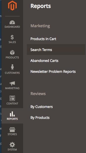 magneto 2 reports menu