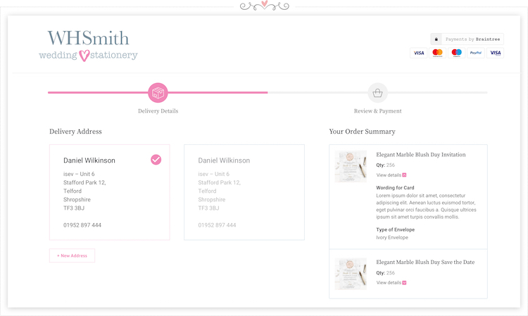 whsmith-wedding-stationery-checkout-page