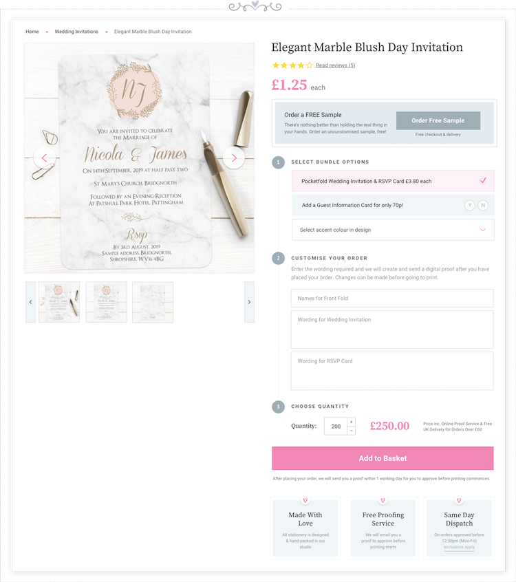 WHSmith wedding stationery Product-page